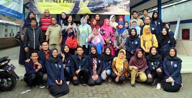 Tim mahasiswa FPPsi UM, bersama masyarakat desa Wonorejo, dan tim Monev dari Dirjen Belmawa. (ist)