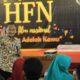 Redi Panuju, Dekan Fikom Unitomo berikan paparan dalam Workshop HFN