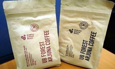 Produk kemasan kopi unggulan UB Forest jenis Arabica dan Robusta. (rhd)